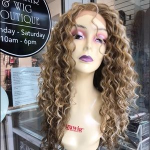 Accessories - Long blonde curly lacefront human hair blende Wig